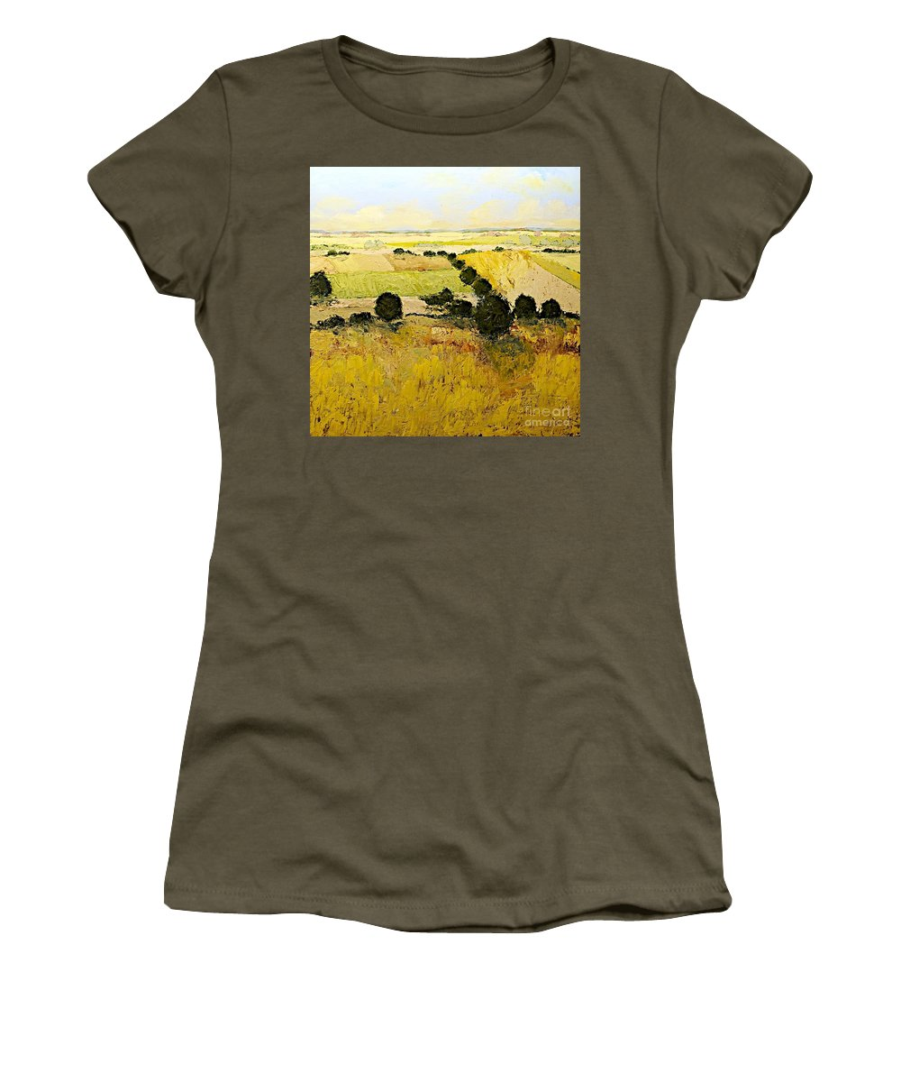 Landscape Women's T-Shirt featuring the painting Summers End by Allan P Friedlander