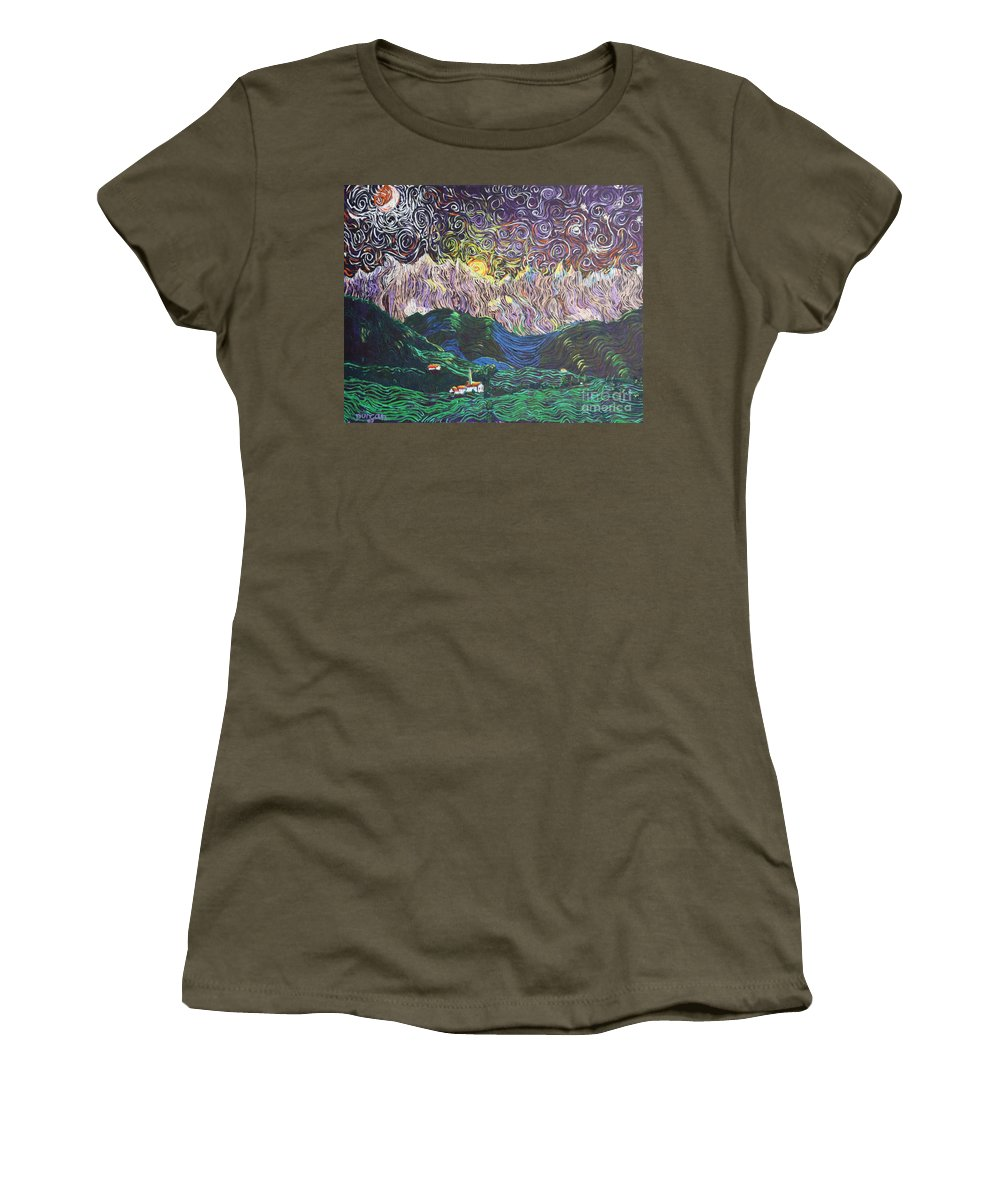 Landscape Women's T-Shirt (Athletic Fit) featuring the painting Sun And Moon Night by Stefan Duncan