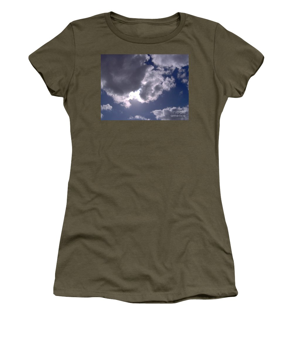 Clouds Women's T-Shirt featuring the photograph Sun Behind The Clouds by D Hackett