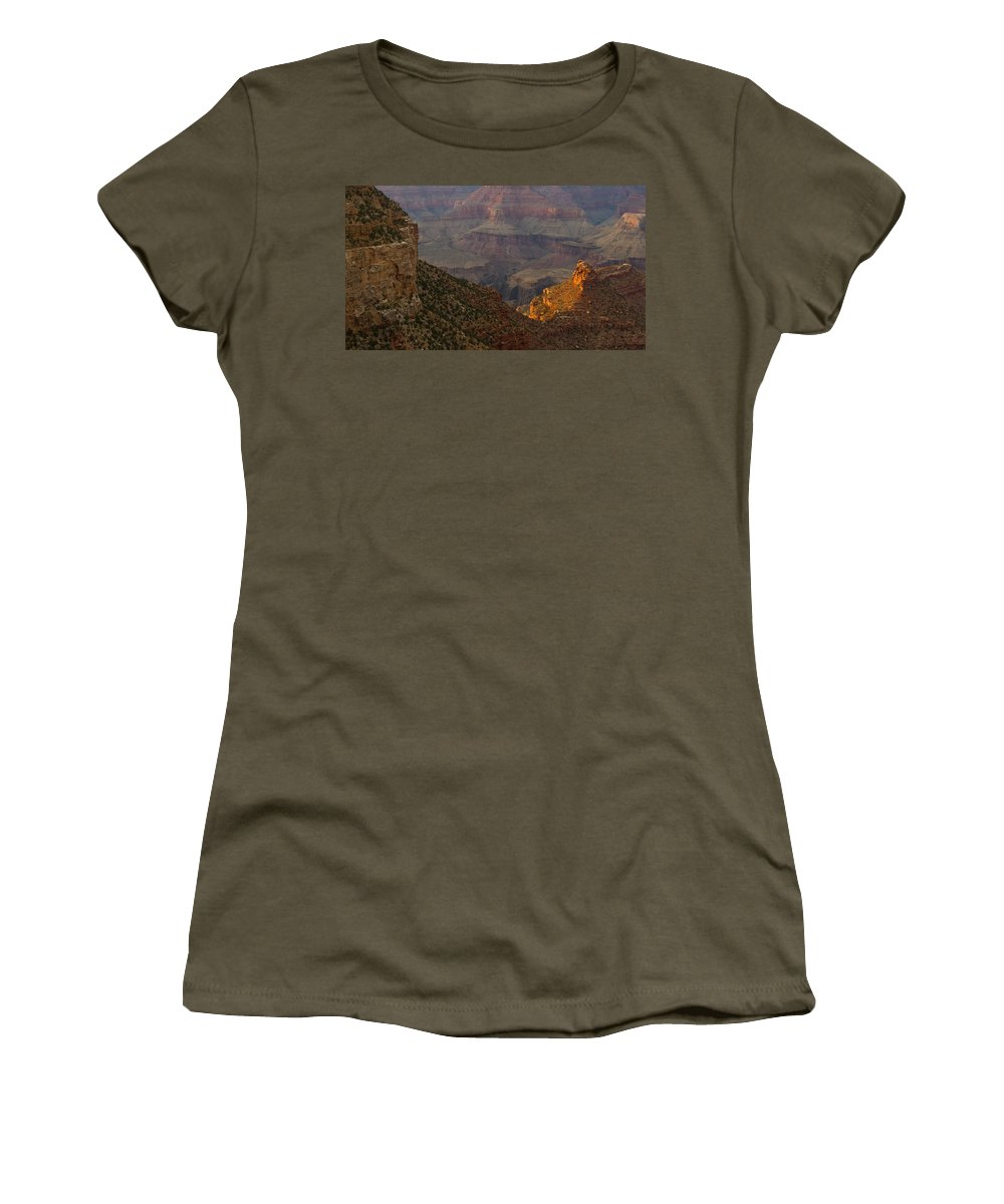 Sun Women's T-Shirt featuring the photograph Sun Shining On The Canyons by Kathleen Odenthal