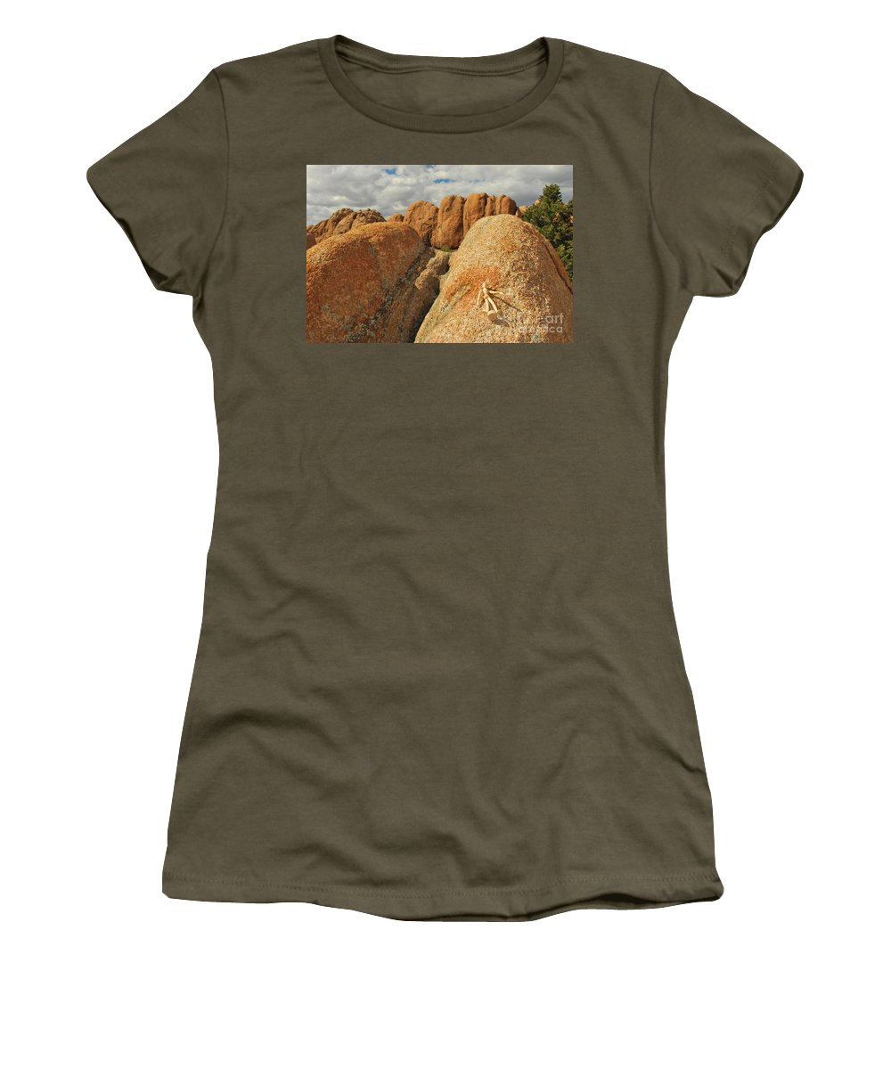 Granite Women's T-Shirt featuring the photograph Sunbathing In The Raw by Heather Kirk