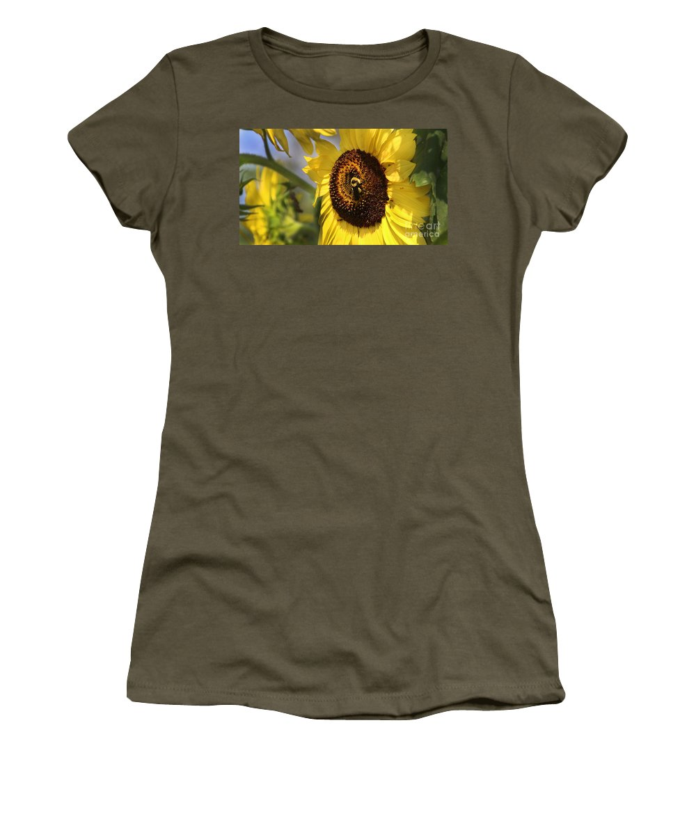 Sunflower Women's T-Shirt featuring the photograph Sunflower And Bee-3922 by Gary Gingrich Galleries