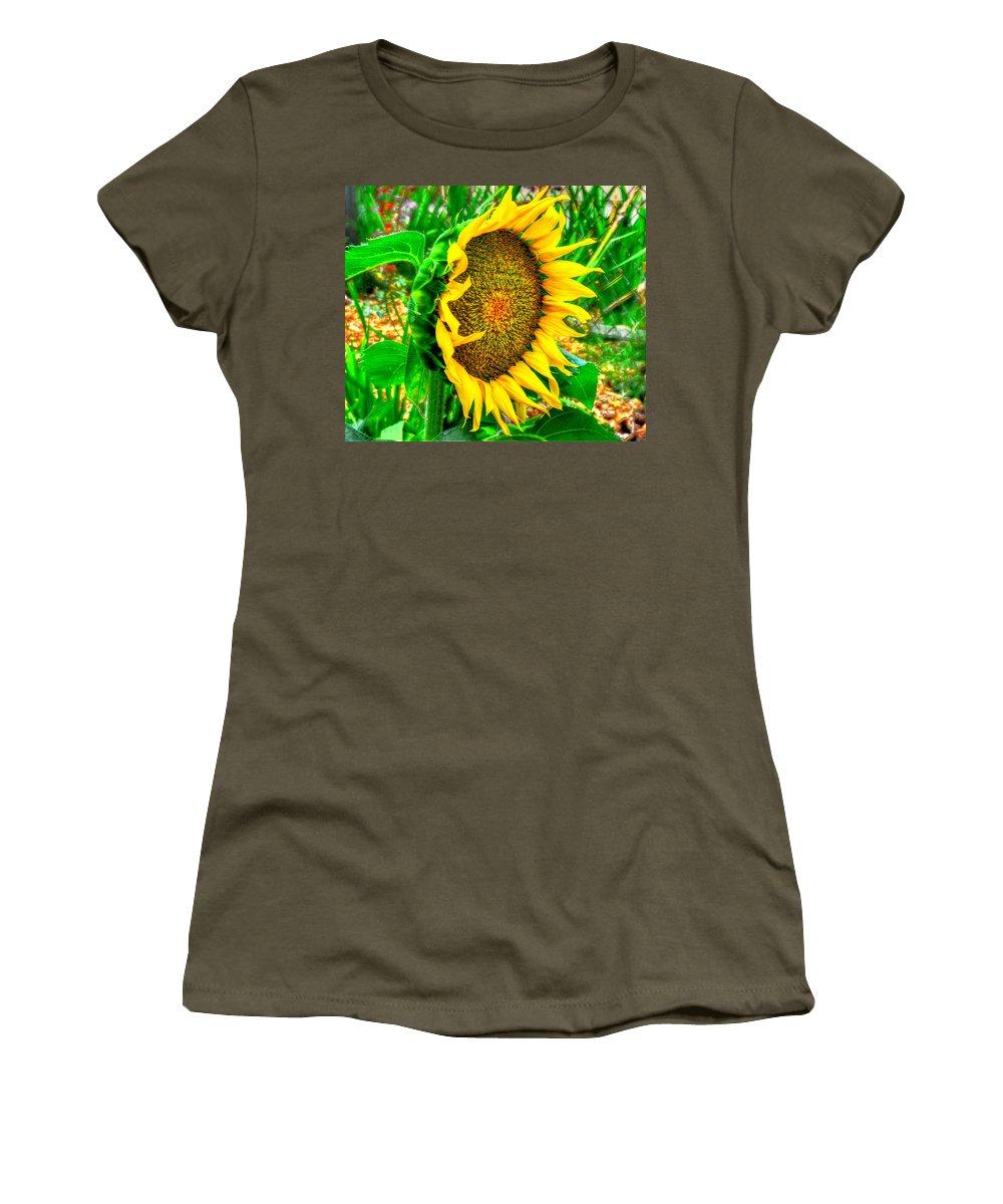 Sunflower Bloom Summer Women's T-Shirt featuring the photograph Sunflower Bloom by Greg Joens