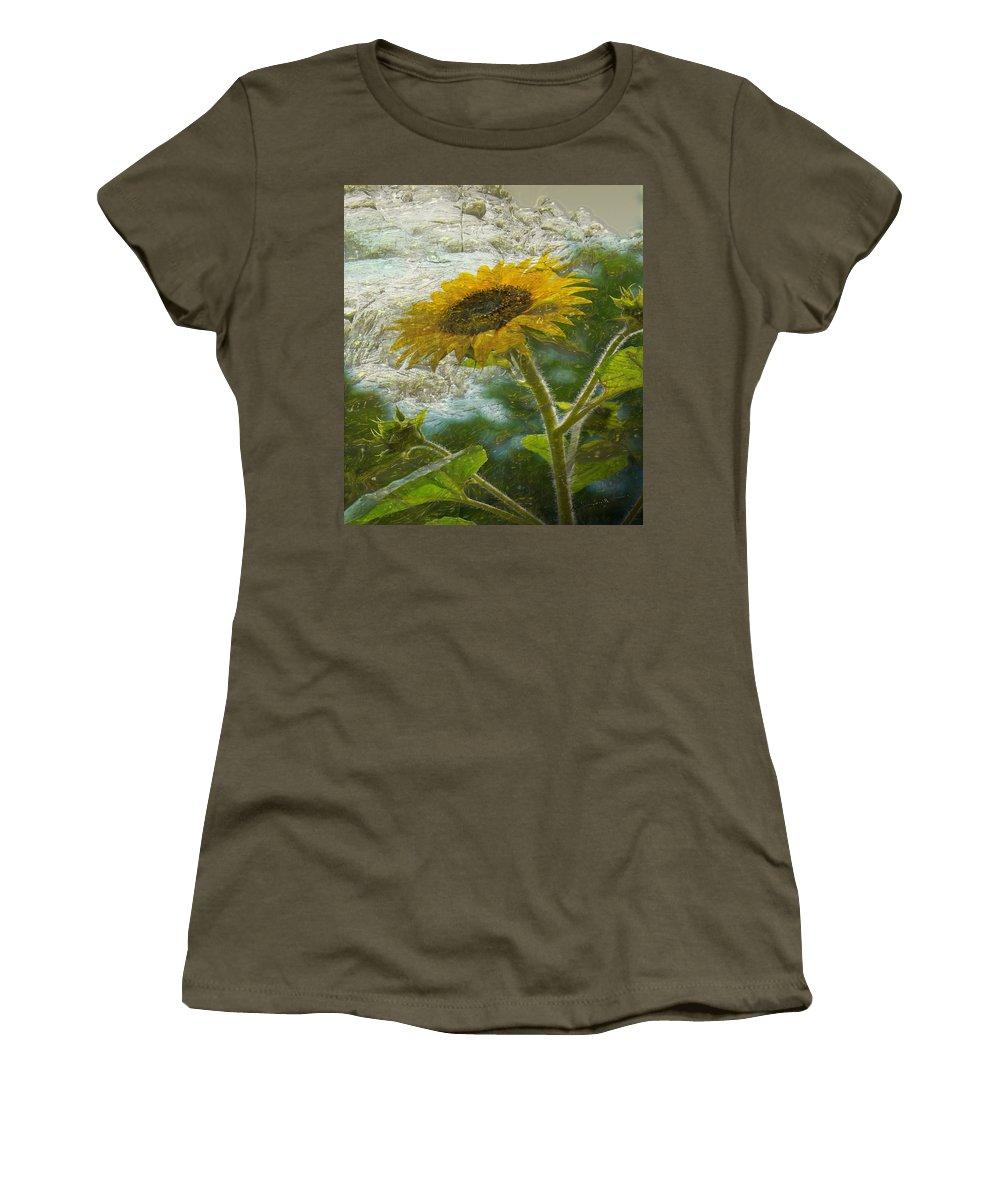 Sun Women's T-Shirt featuring the digital art Sunflower Mountain by Michael Hurwitz