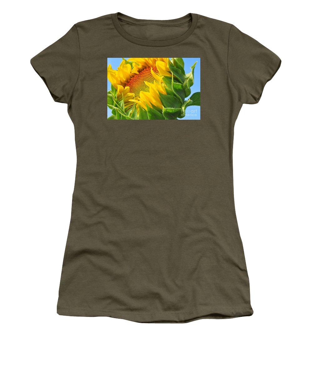 Sunflower Women's T-Shirt featuring the photograph Sunflower Unfolding by Regina Geoghan
