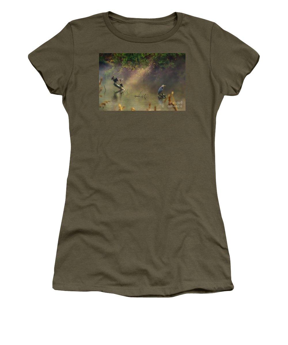 Lake Women's T-Shirt featuring the photograph Sunglow Heron by Scott Hervieux