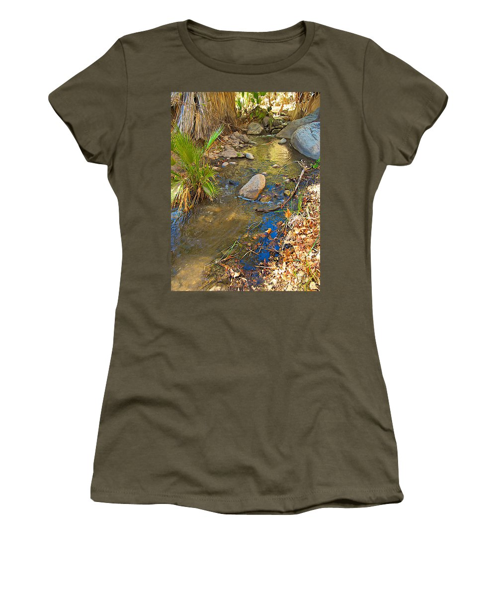 Sunlight On Andreas Creek In Andreas Canyon Trail In Indian Canyons Women's T-Shirt featuring the photograph Sunlight On Andreas Creek In Indian Canyons-ca by Ruth Hager