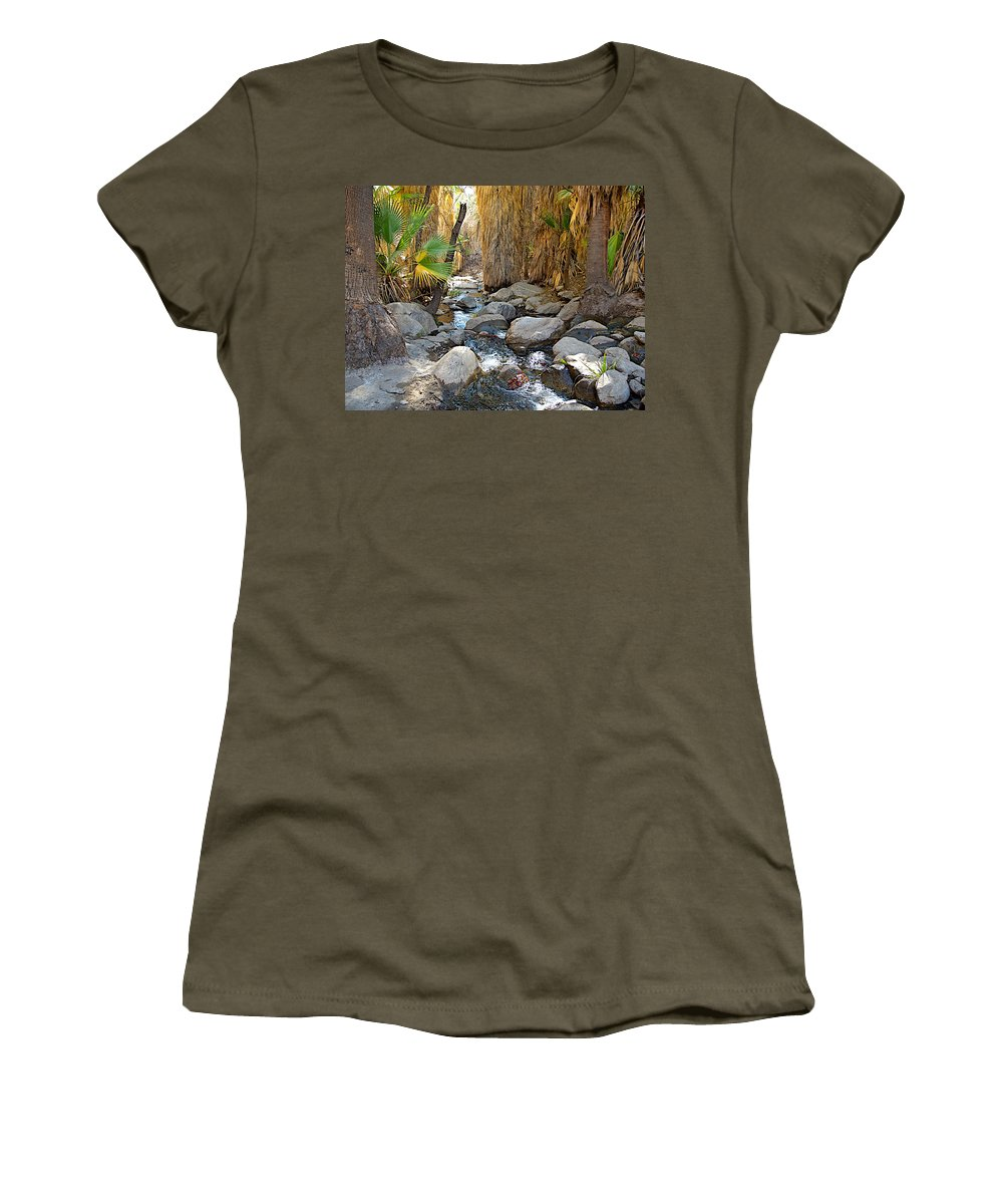 Sunlight Over Rocky Andreas Creek In Andreas Canyon Trail In Indian Canyons Women's T-Shirt featuring the photograph Sunlight Over Rocky Andreas Creek In Indian Canyons-ca by Ruth Hager