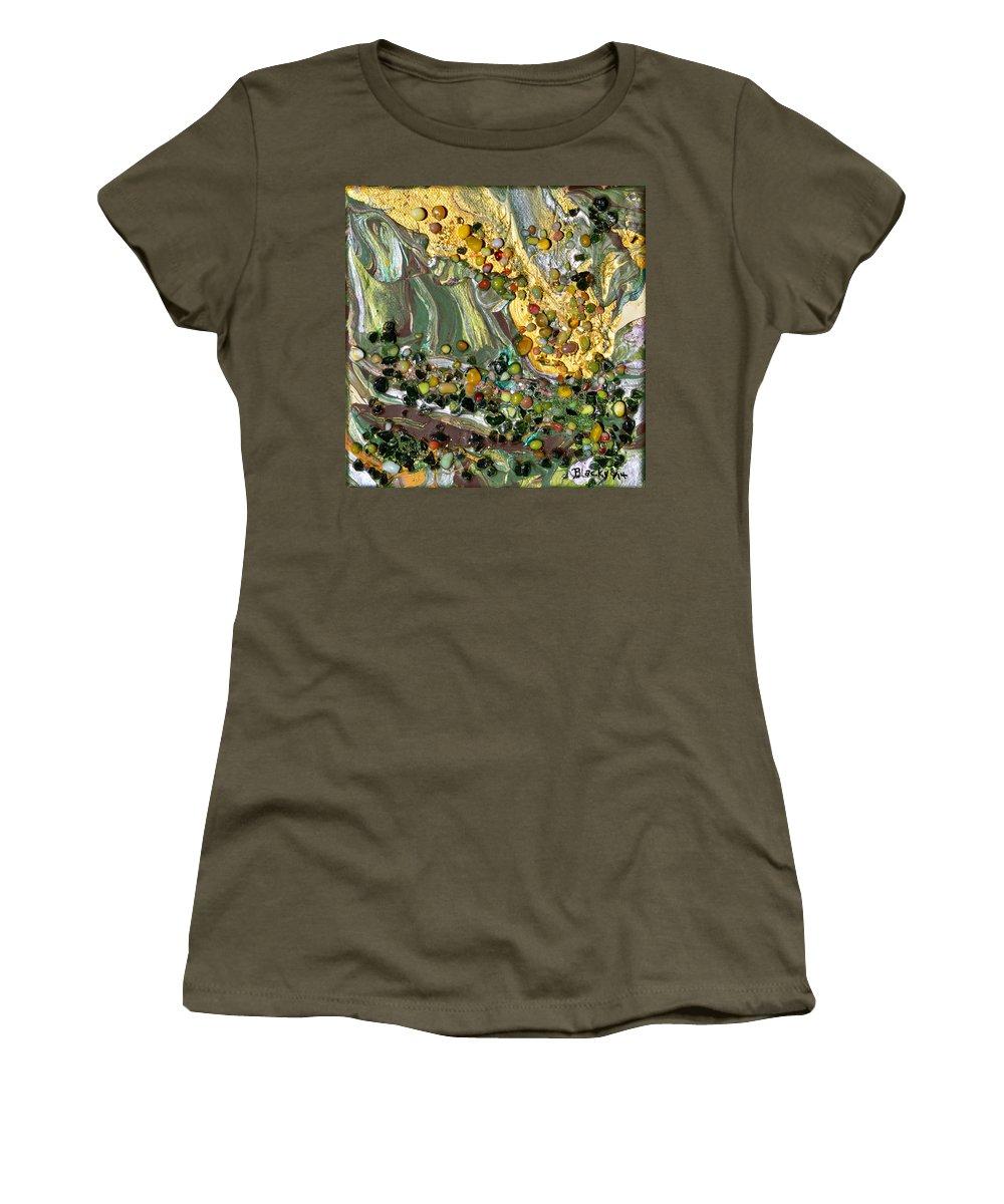 Modern Women's T-Shirt featuring the mixed media Sunlit Marsh by Donna Blackhall