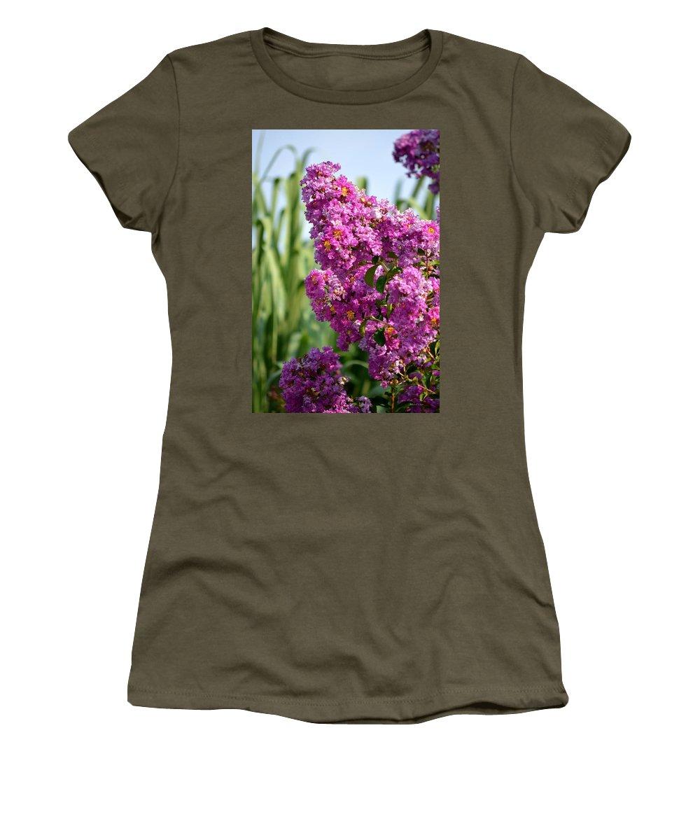 Sunlit Women's T-Shirt featuring the photograph Sunlit Purple Crepe Mertle by Maria Urso