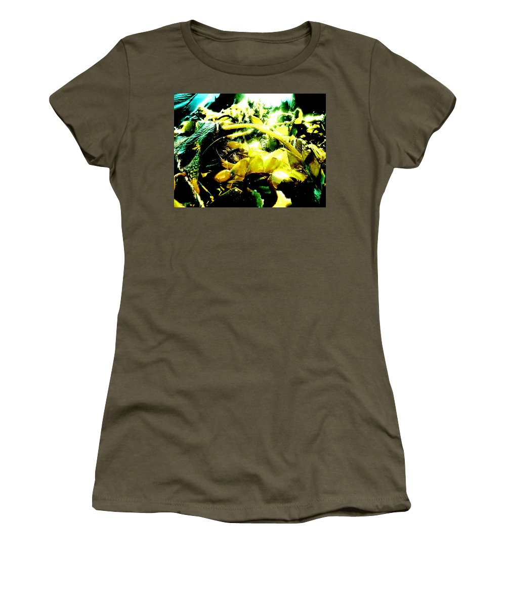 Macro Women's T-Shirt featuring the photograph Sunlit Seaweed by Steve Taylor