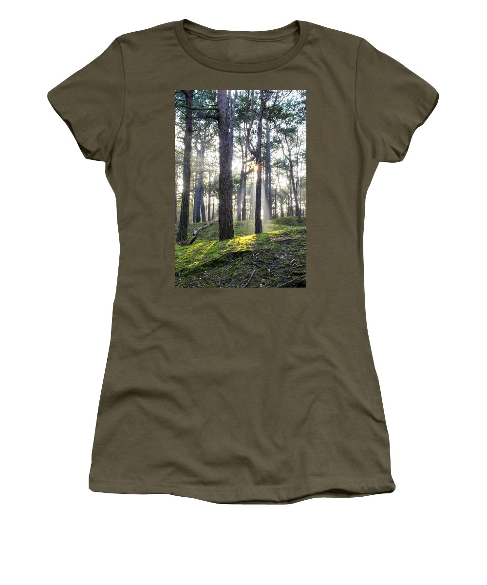 Trees Women's T-Shirt (Athletic Fit) featuring the photograph Sunlit Trees by Spikey Mouse Photography