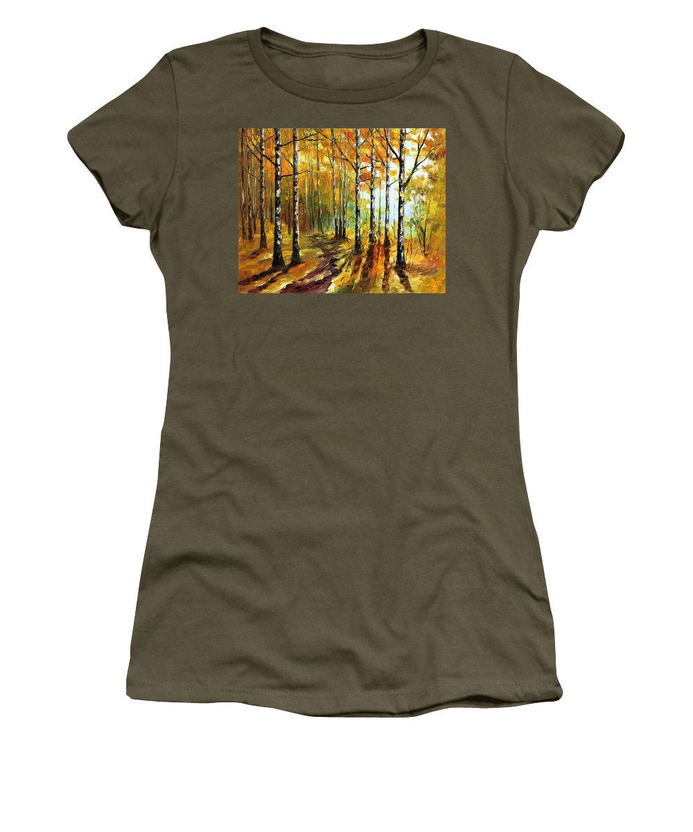 Oil Paintings Women's T-Shirt featuring the painting Sunny Birches - Palette Knife Oil Painting On Canvas By Leonid Afremov by Leonid Afremov