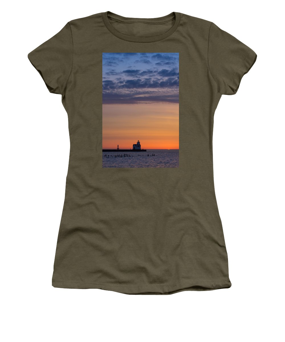 Lighthouse Women's T-Shirt (Athletic Fit) featuring the photograph Sunrise Genesis by Bill Pevlor
