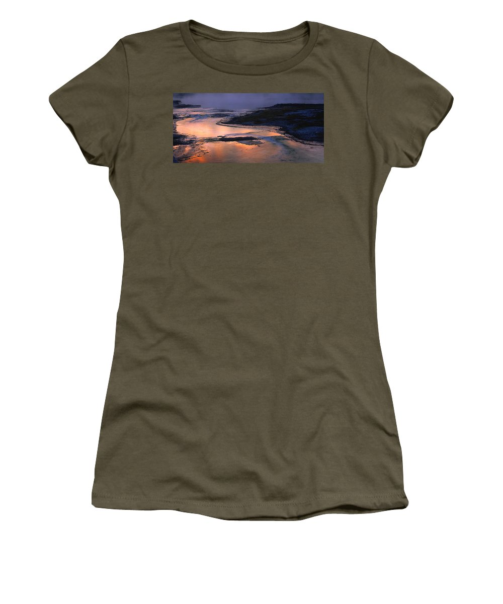 Multi Colored Women's T-Shirt featuring the photograph Sunrise Lower Geyser Basin by Steve Archbold