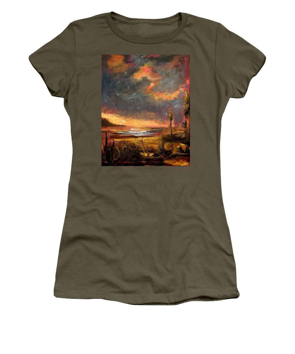 Original Women's T-Shirt featuring the painting Sunrise With Birds by Julianne Felton