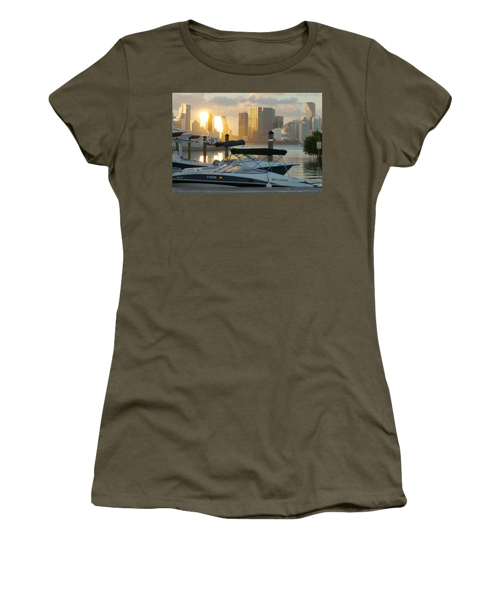 Sunset Women's T-Shirt featuring the photograph Sunset At Key Biscayne by Hans Heinz