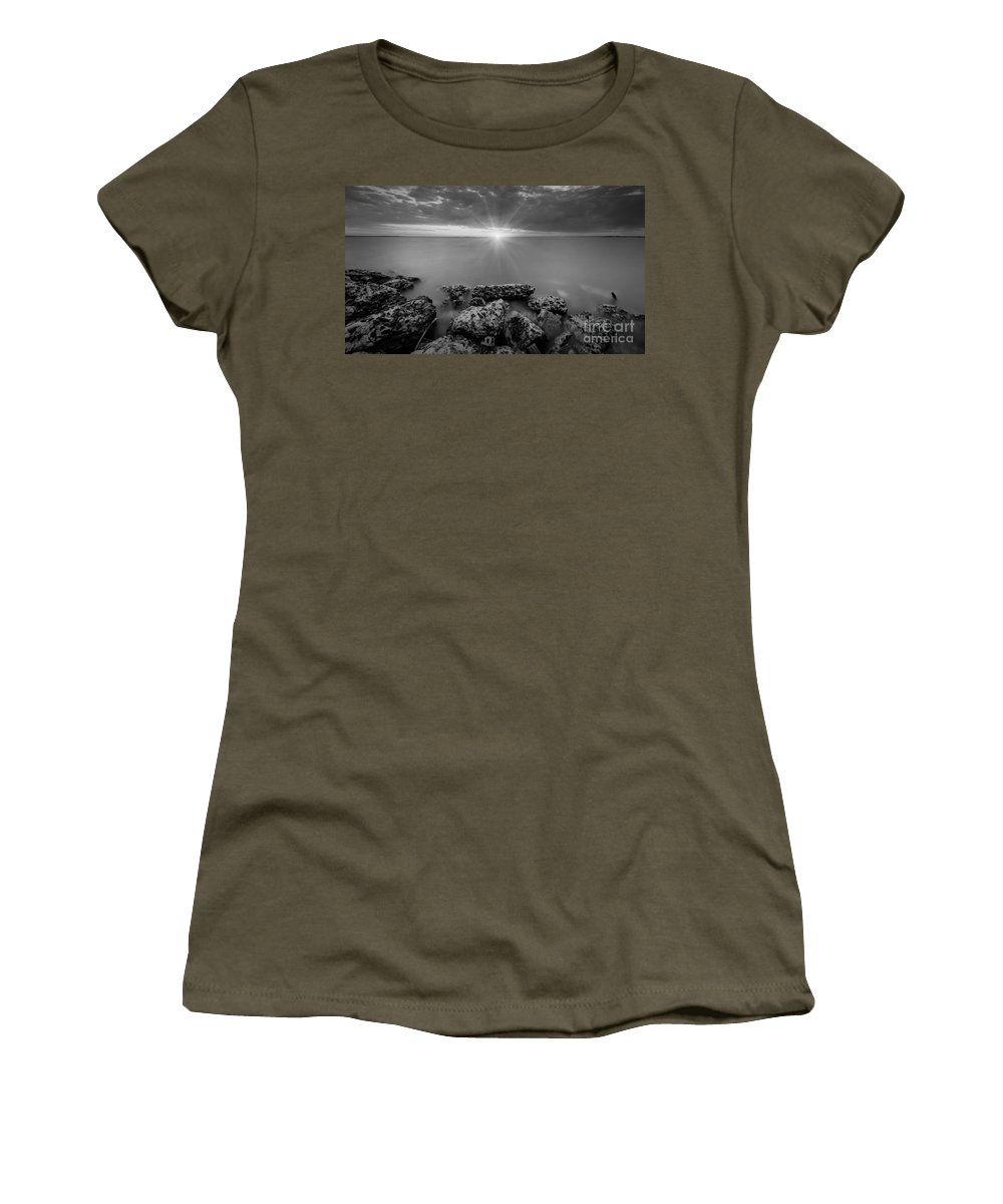 Sandy Hook Women's T-Shirt featuring the photograph Sunset Bliss Bw 16x9 Crop by Michael Ver Sprill