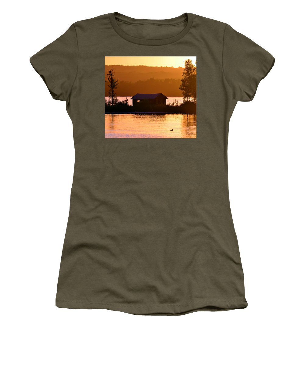 Lake Women's T-Shirt featuring the photograph Sunset Boat House by Gary Mosman