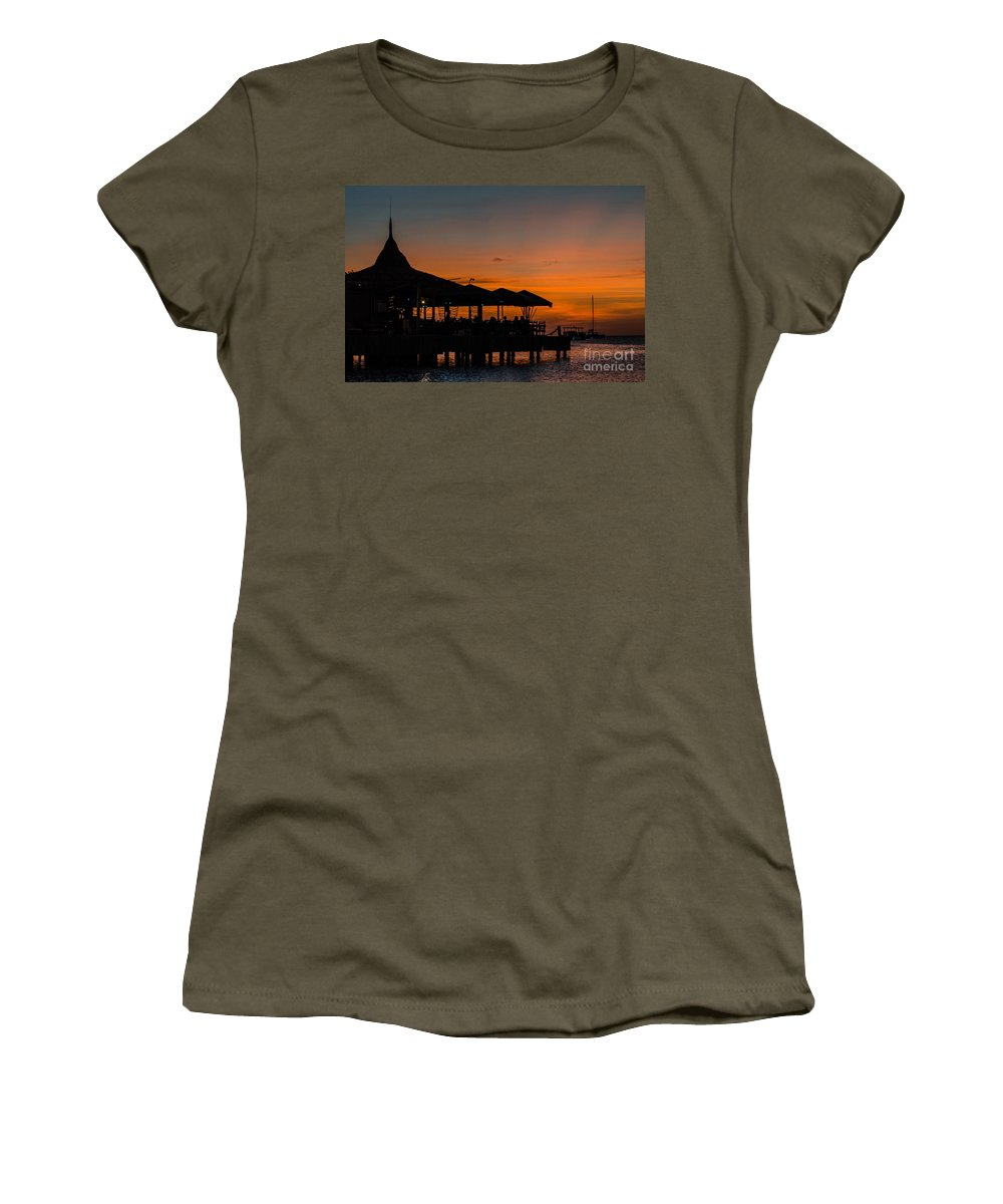 Pelican Pier Women's T-Shirt (Athletic Fit) featuring the photograph Sunset From Pelican Pier by Judy Wolinsky