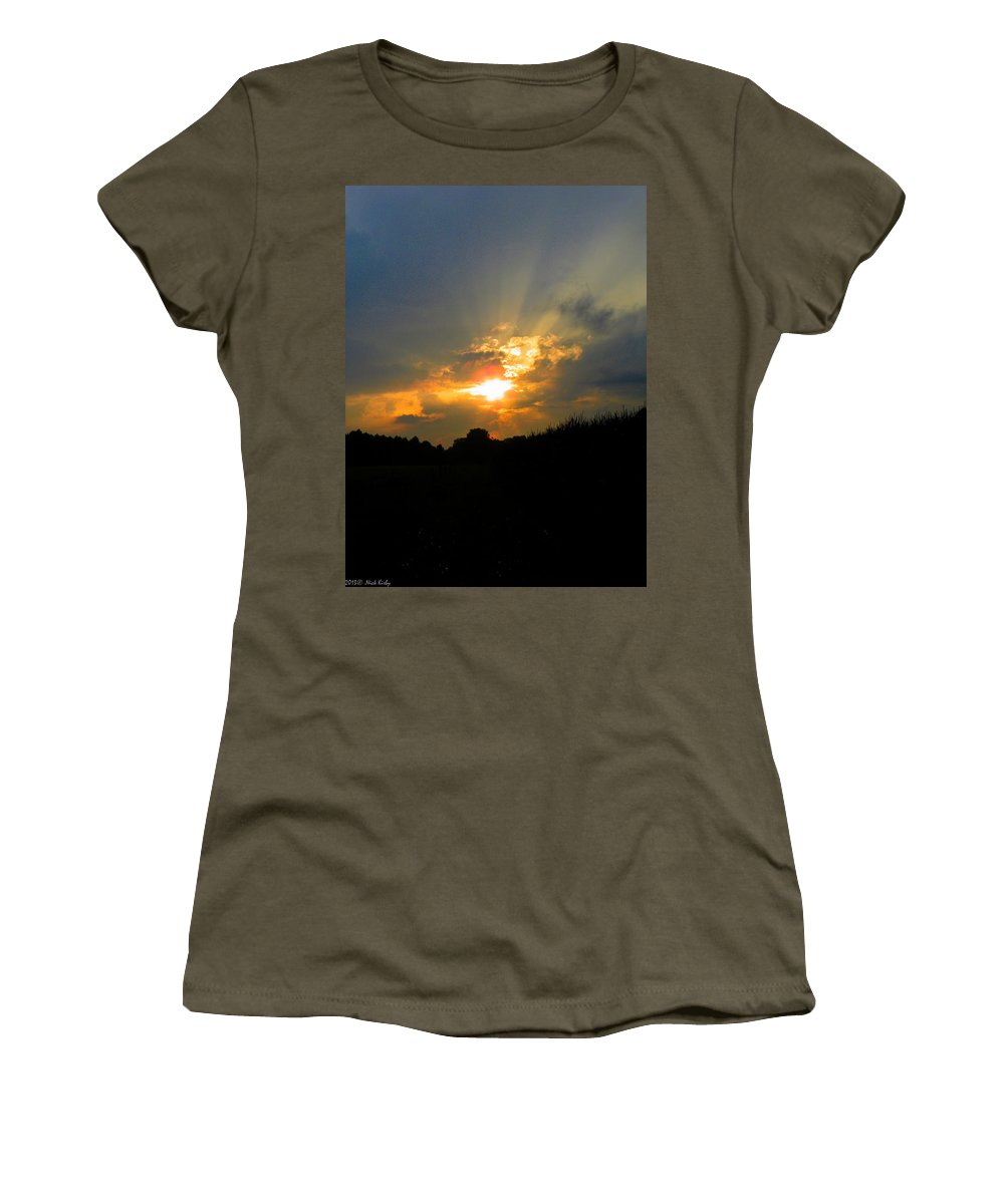Sunset Women's T-Shirt (Athletic Fit) featuring the photograph Sunset In The Cornfield 2 by Nick Kirby