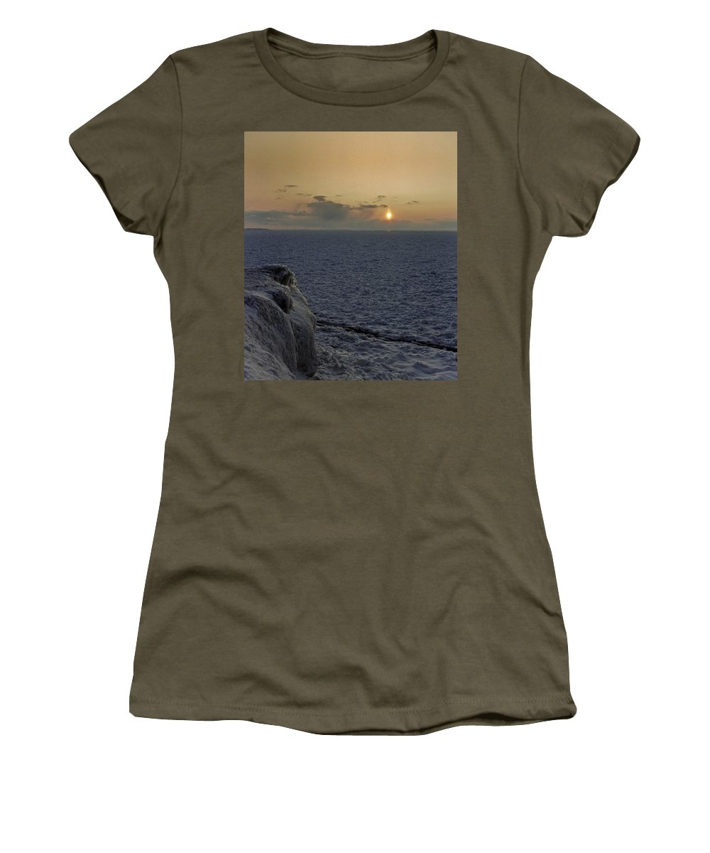 Travel Women's T-Shirt featuring the photograph Sunset On Frozen Lake by Claudio Bacinello