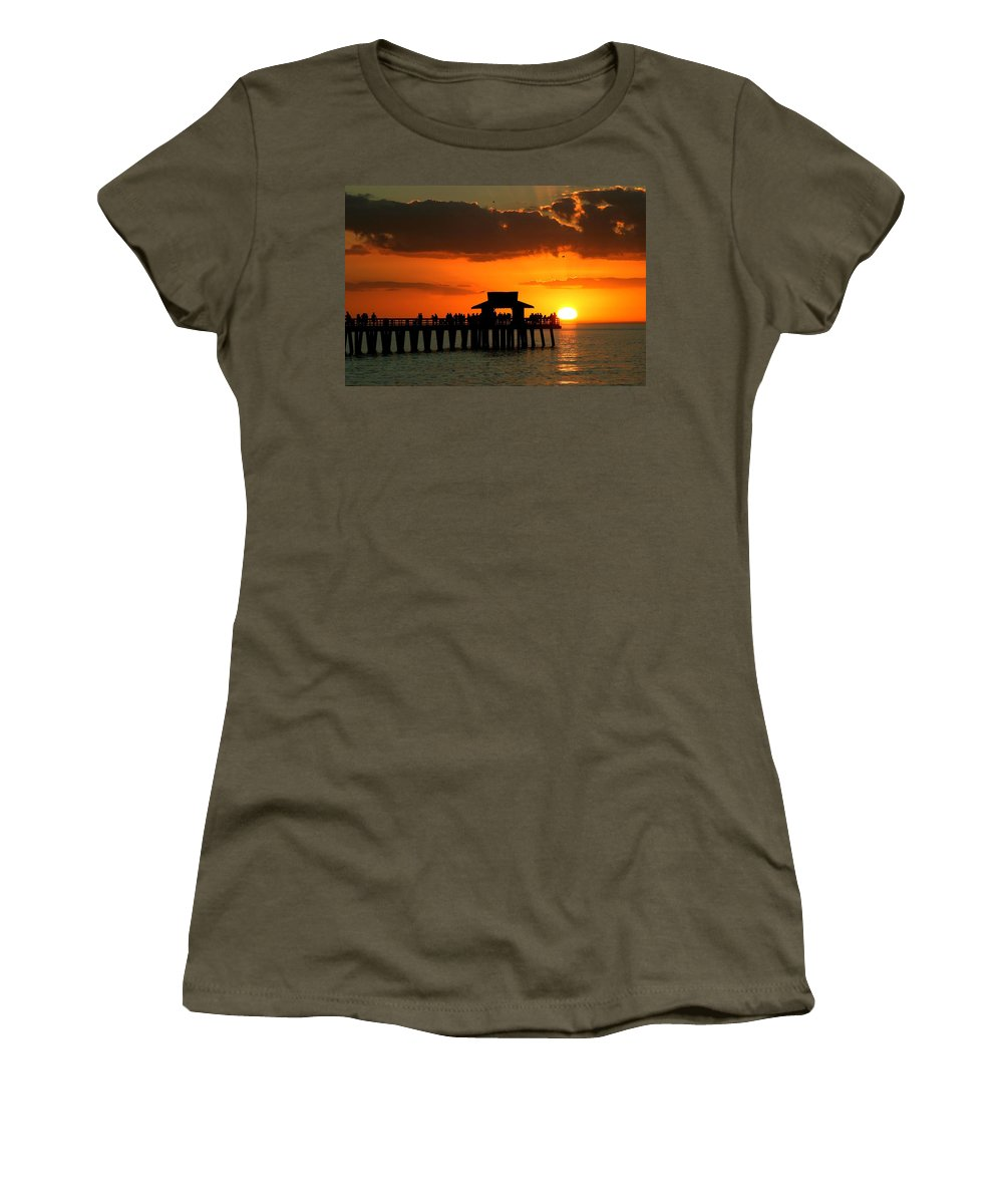 Sunset Women's T-Shirt featuring the photograph Sunset On Naples Pier by Rick Locke