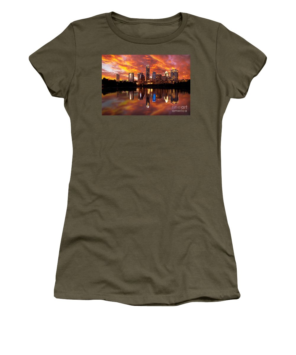Austin Women's T-Shirt featuring the photograph Sunset Over Austin by Randy Smith
