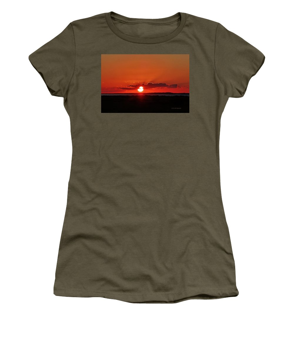 Ocracoke Island Women's T-Shirt (Athletic Fit) featuring the photograph Sunset Over Ocracoke Island by Holly Dwyer
