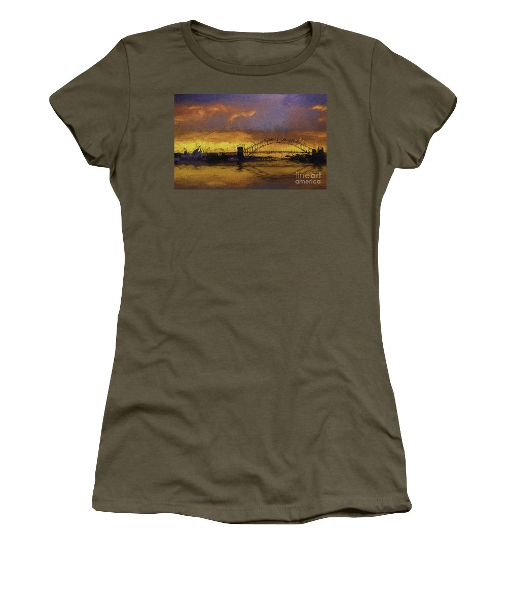 Clouds Women's T-Shirt (Athletic Fit) featuring the photograph Sunset Over Sydney Harbour A Turneresque View by Sheila Smart Fine Art Photography