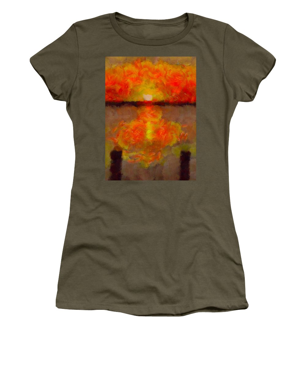 Sunset Reflections On The Dock Women's T-Shirt featuring the painting Sunset Reflections On The Dock by Dan Sproul