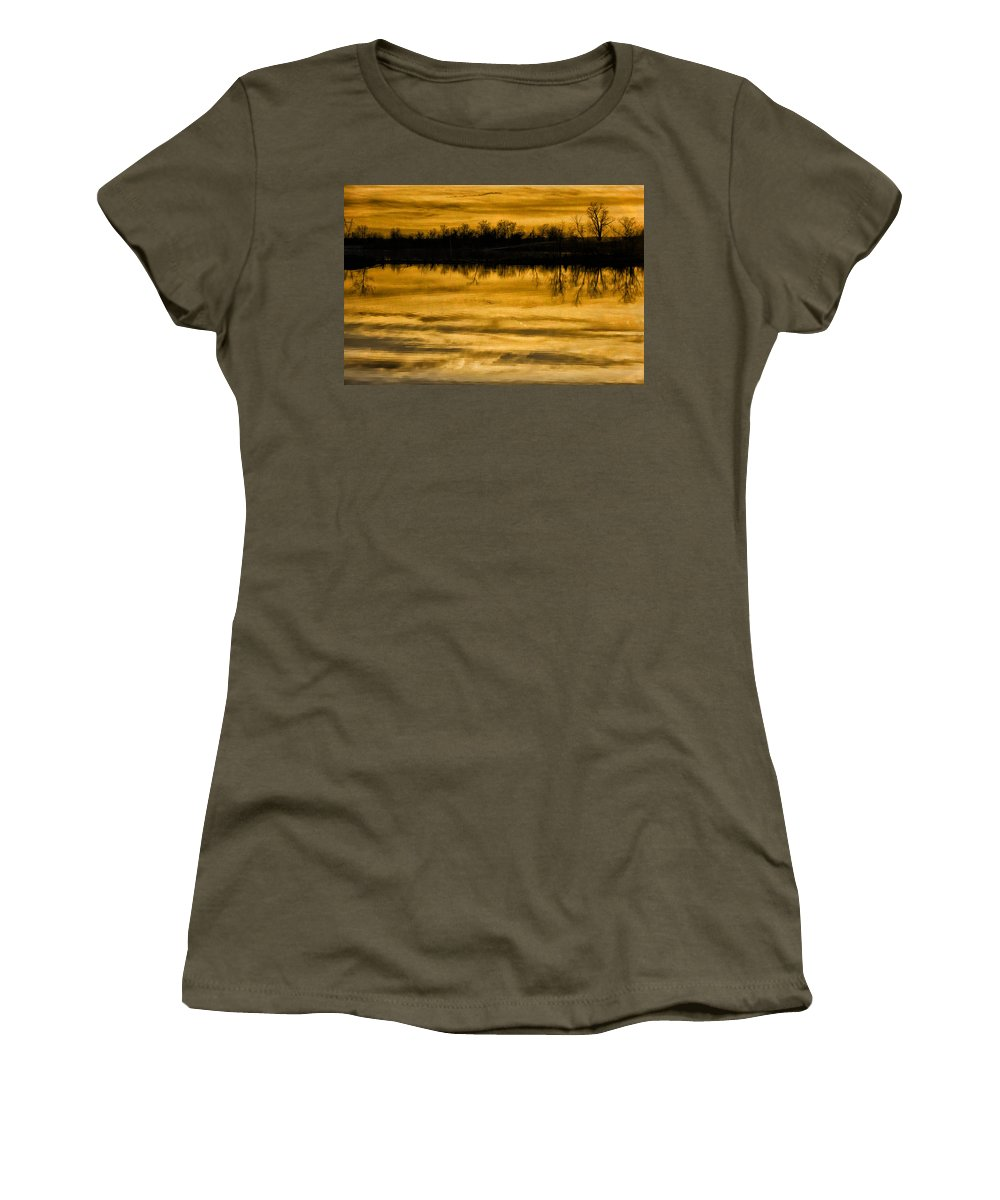 Sunset Women's T-Shirt featuring the photograph Sunset Riverlands West Alton Mo Sepia Tone Dsc03319 by Greg Kluempers