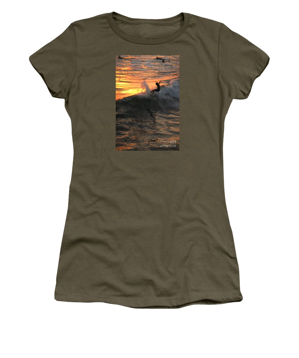 Landscapes Women's T-Shirt featuring the photograph Sunset Surfers by John F Tsumas