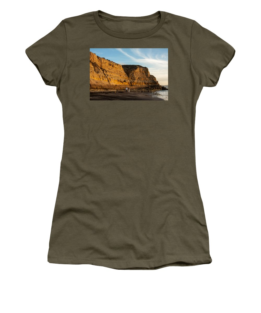 Flat Rock Women's T-Shirt featuring the photograph Sunset Walk At Flat Rock La Jolla California by Darleen Stry