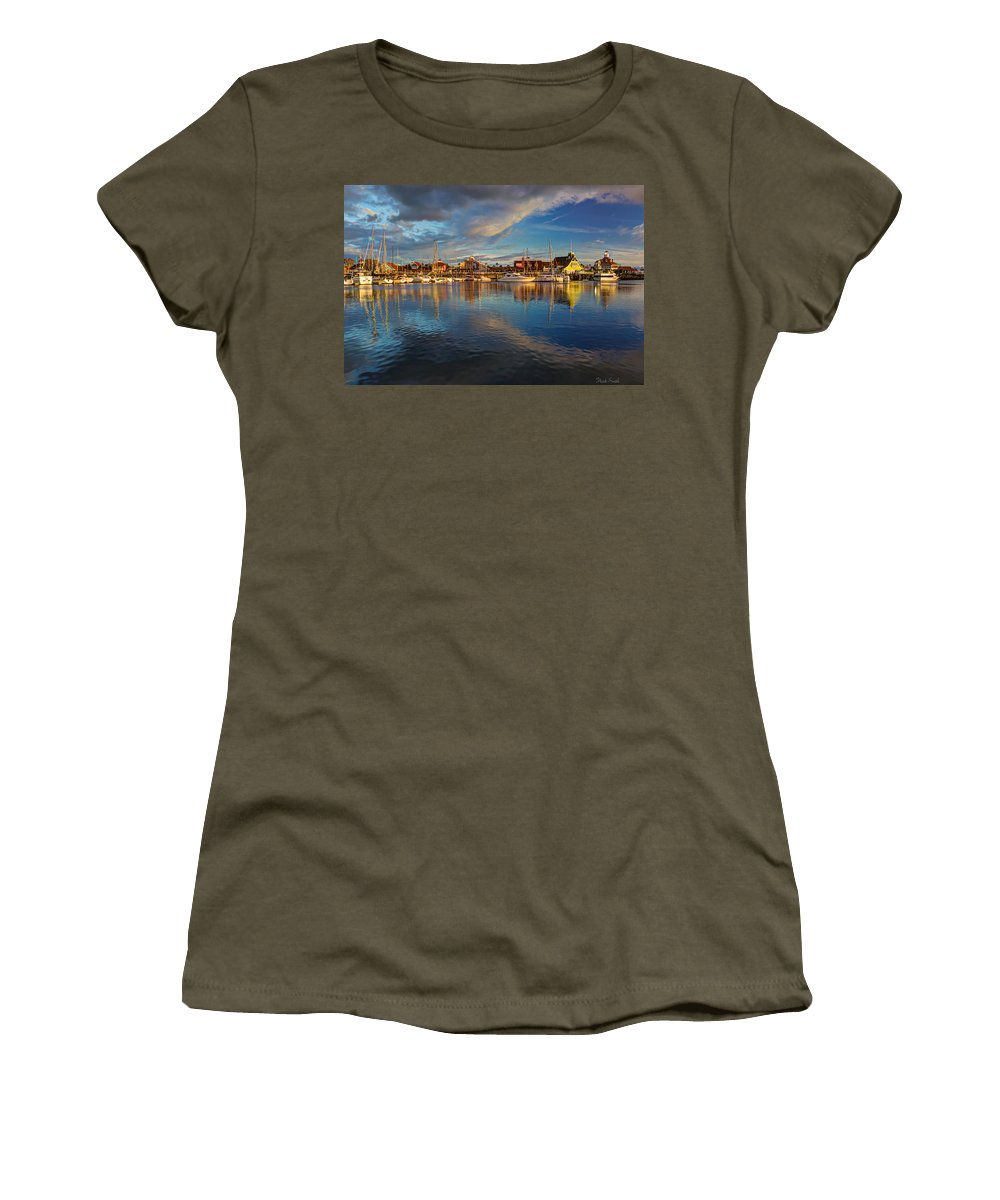 Boat Women's T-Shirt (Athletic Fit) featuring the photograph Sunset's Warm Glow by Heidi Smith