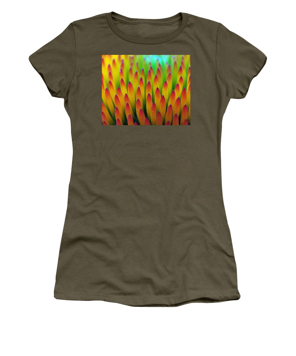 Cone Flowers Women's T-Shirt featuring the photograph Super Macro Of Echinacea Cone Flower by Ernie Echols
