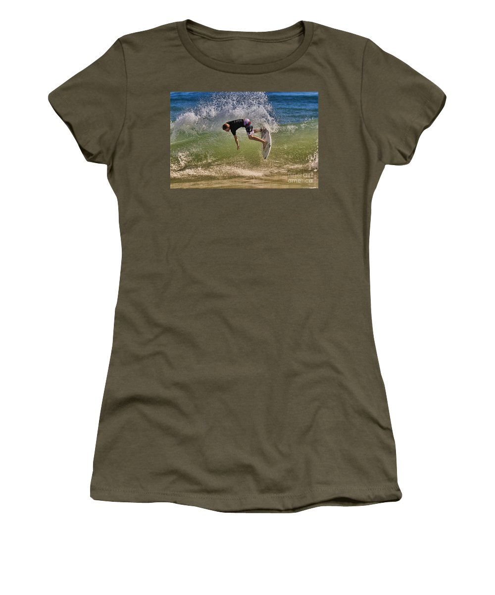 Surfer Women's T-Shirt featuring the photograph Surfer 9222013 by Deborah Benoit