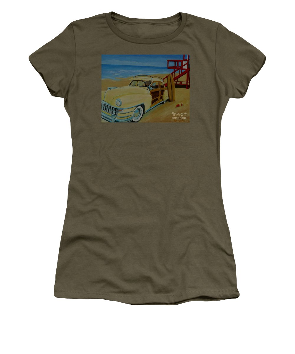 Woody Women's T-Shirt (Athletic Fit) featuring the painting Surfers Woody by Anthony Dunphy
