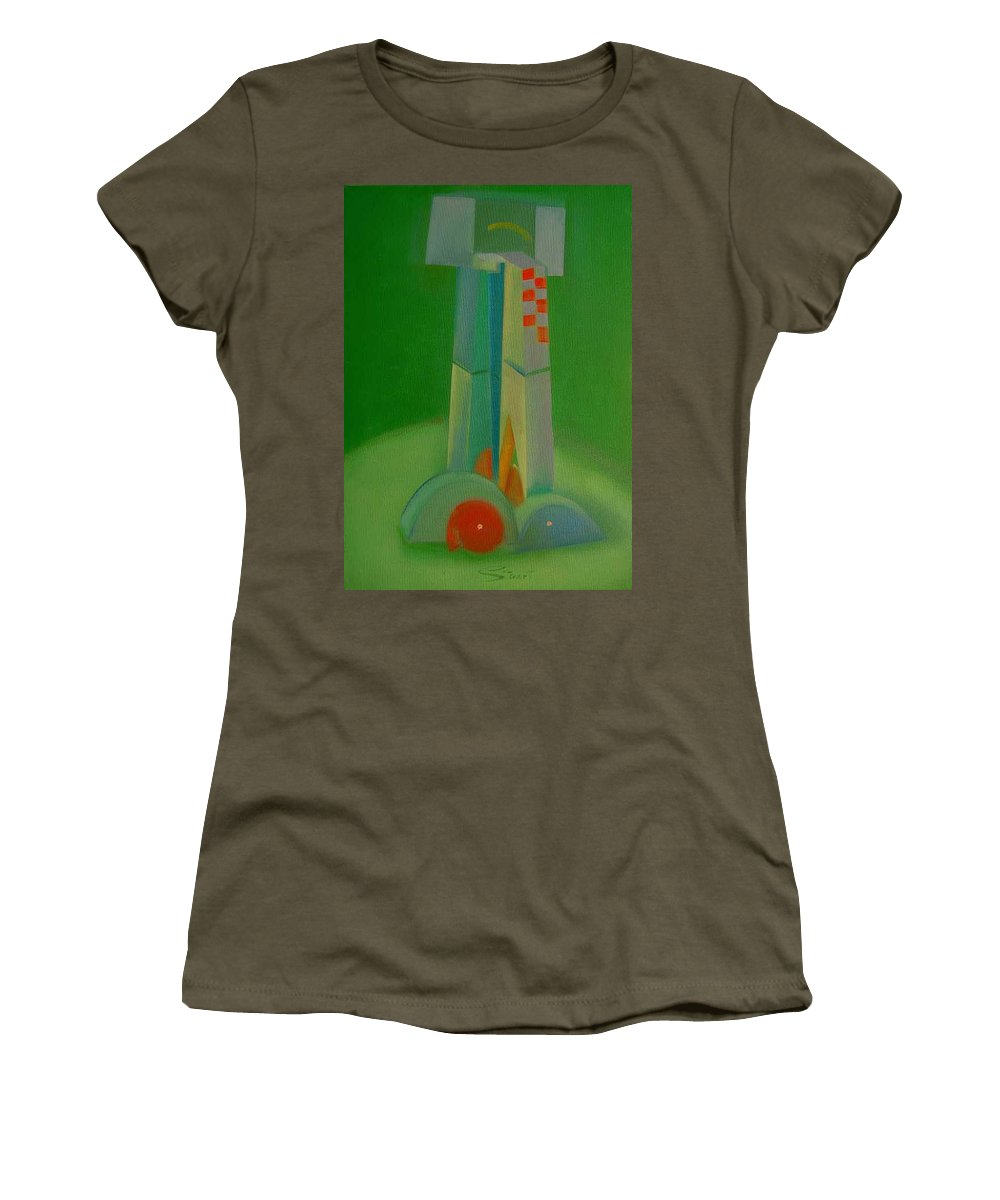 Cubist View Of Figure Women's T-Shirt (Athletic Fit) featuring the painting Survivors by Charles Stuart