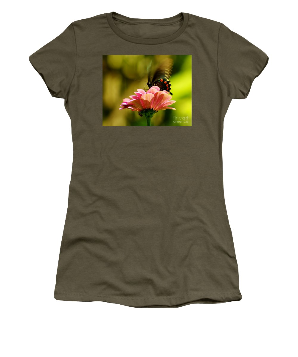 Pipevine Swallowtail Women's T-Shirt featuring the photograph Swallowtail Motion by Kitrina Arbuckle