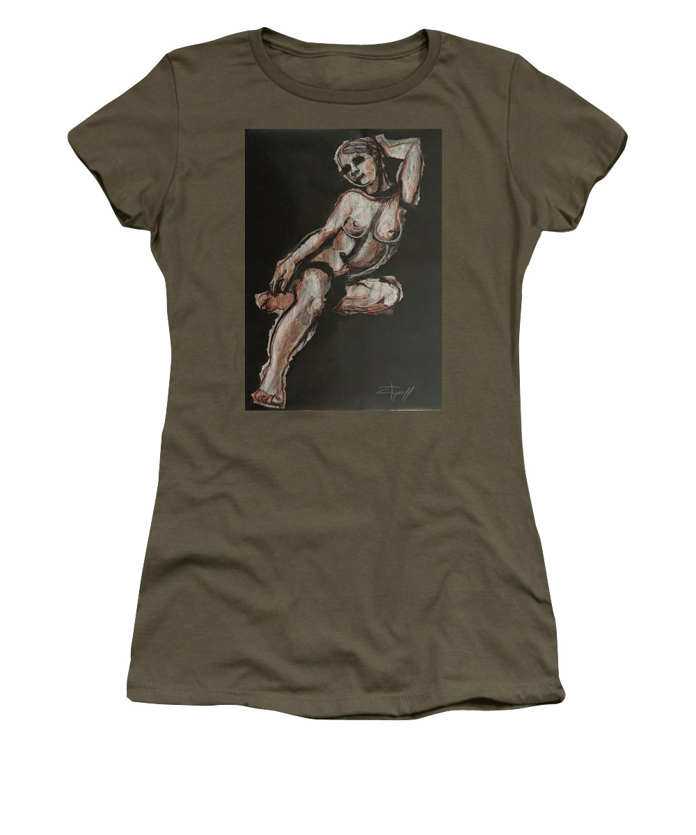Contemporary Women's T-Shirt (Athletic Fit) featuring the painting Sweet Little Mystery - Nudes Gallery by Carmen Tyrrell