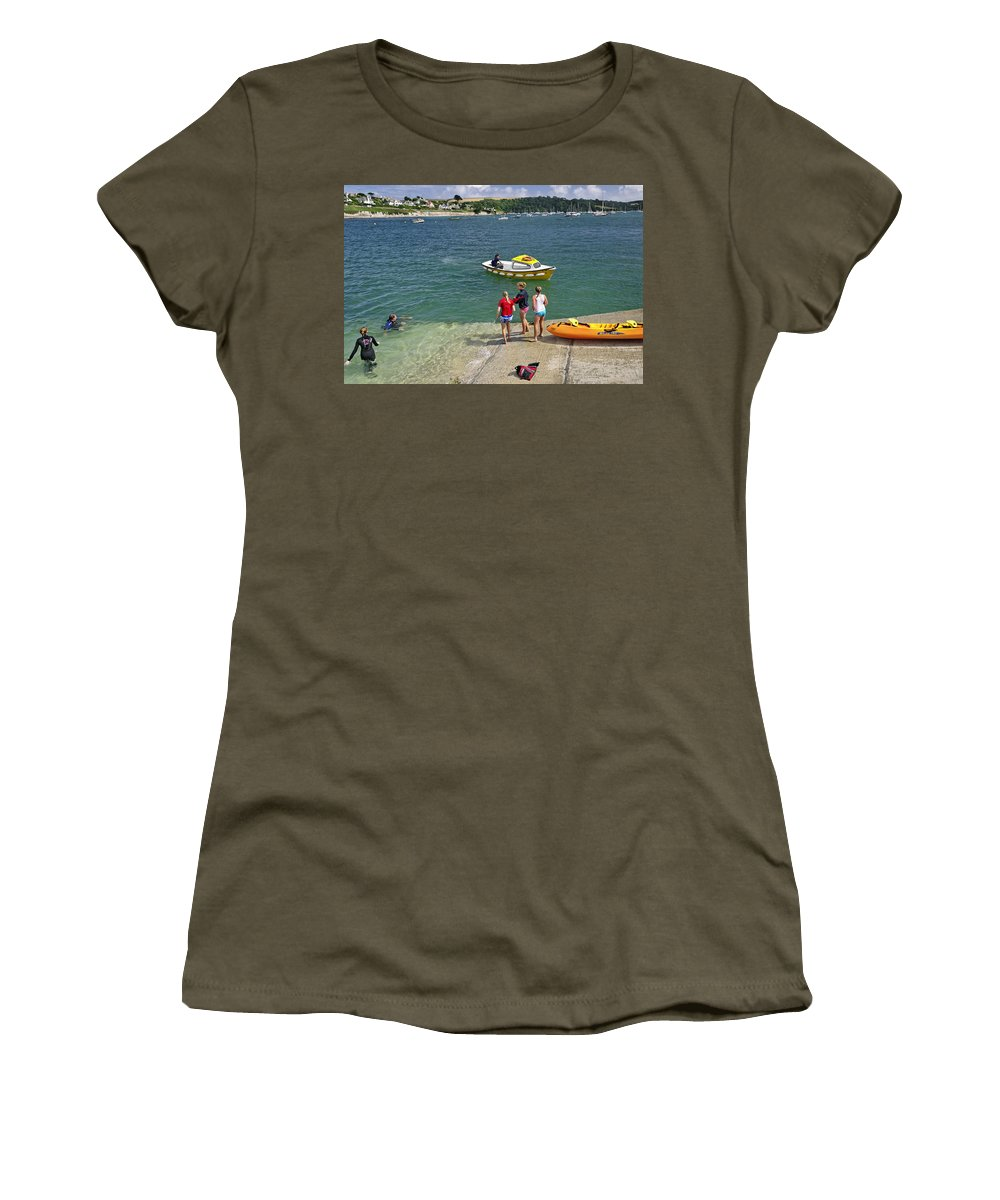 Britain Women's T-Shirt (Athletic Fit) featuring the photograph Swimmers On The Slipway - St Mawes by Rod Johnson