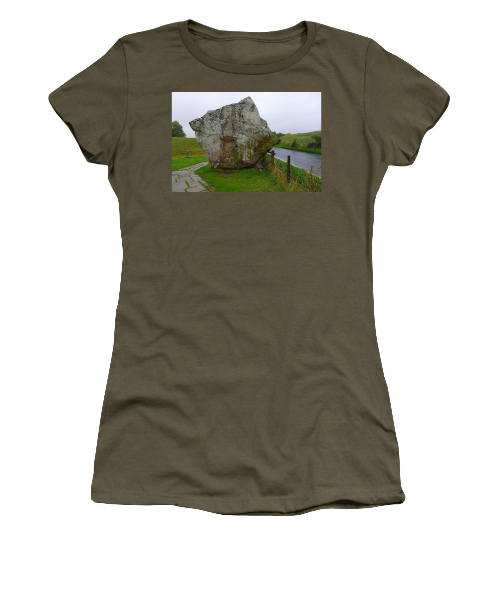 Avebury Women's T-Shirt featuring the photograph Swindon Stone by Denise Mazzocco