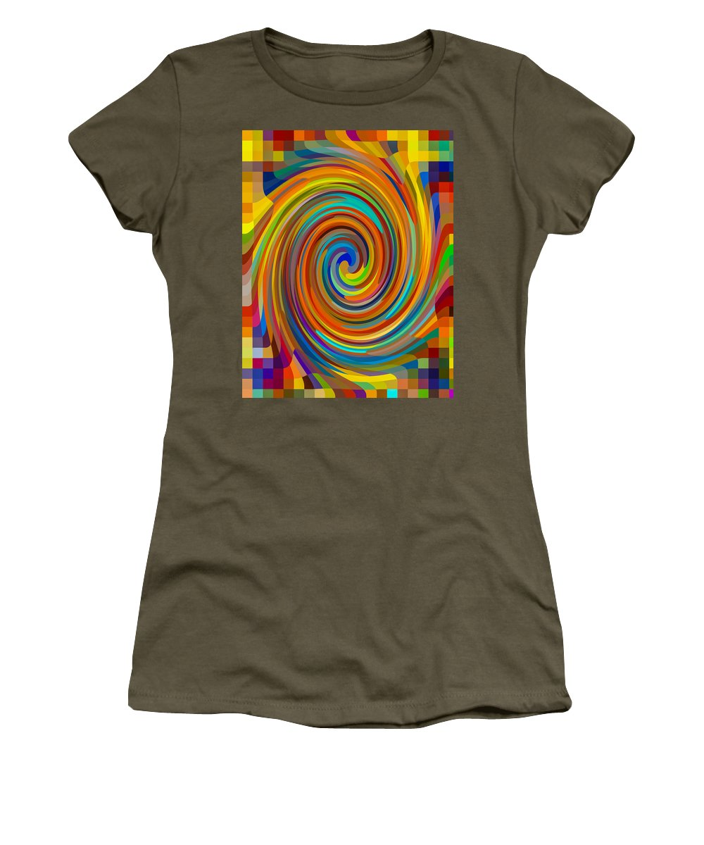 Women's T-Shirt featuring the painting Swirl 83 by Jeelan Clark
