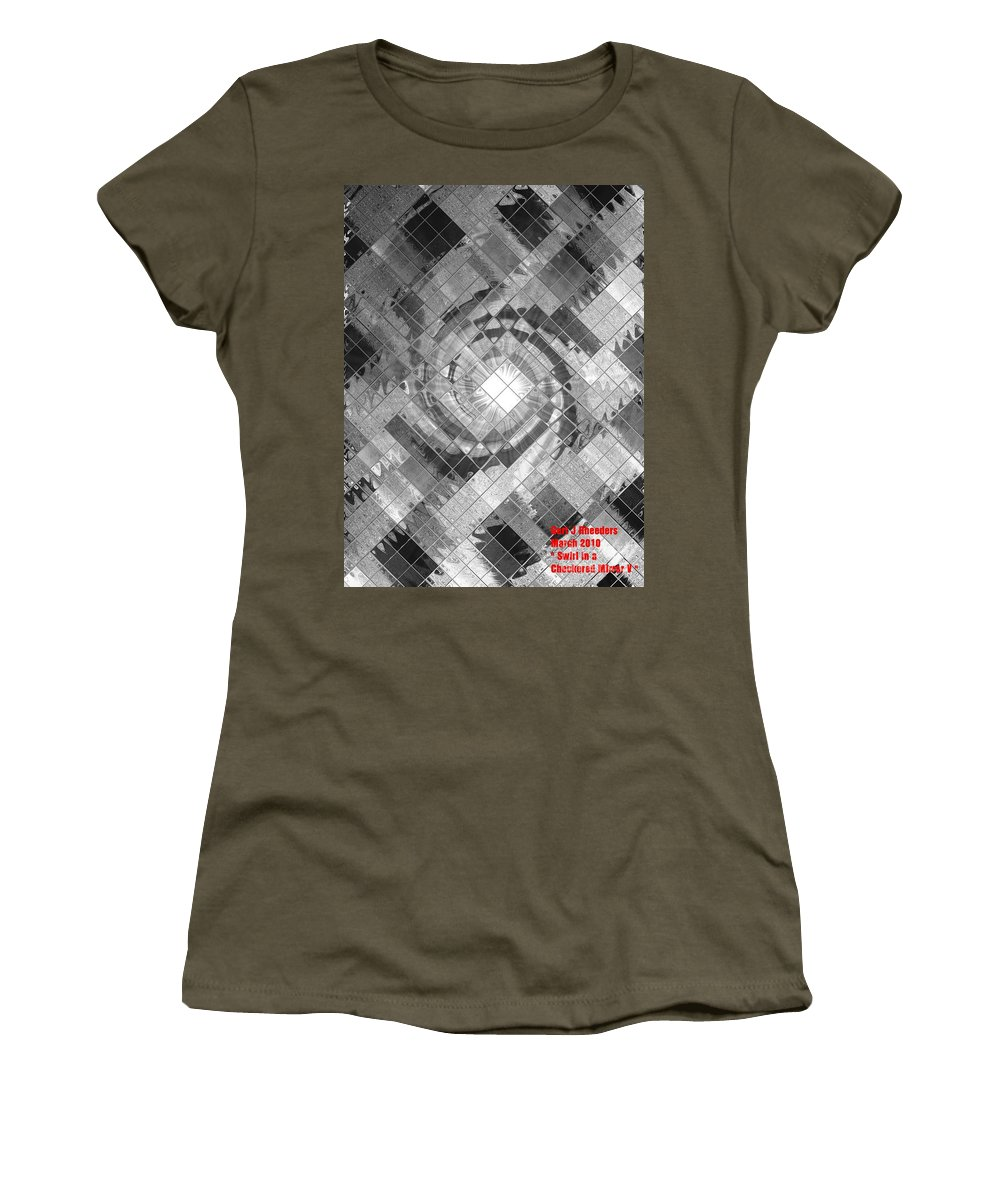 Landscape Women's T-Shirt featuring the painting Swirl In A Checkered Mirror V by Gert J Rheeders