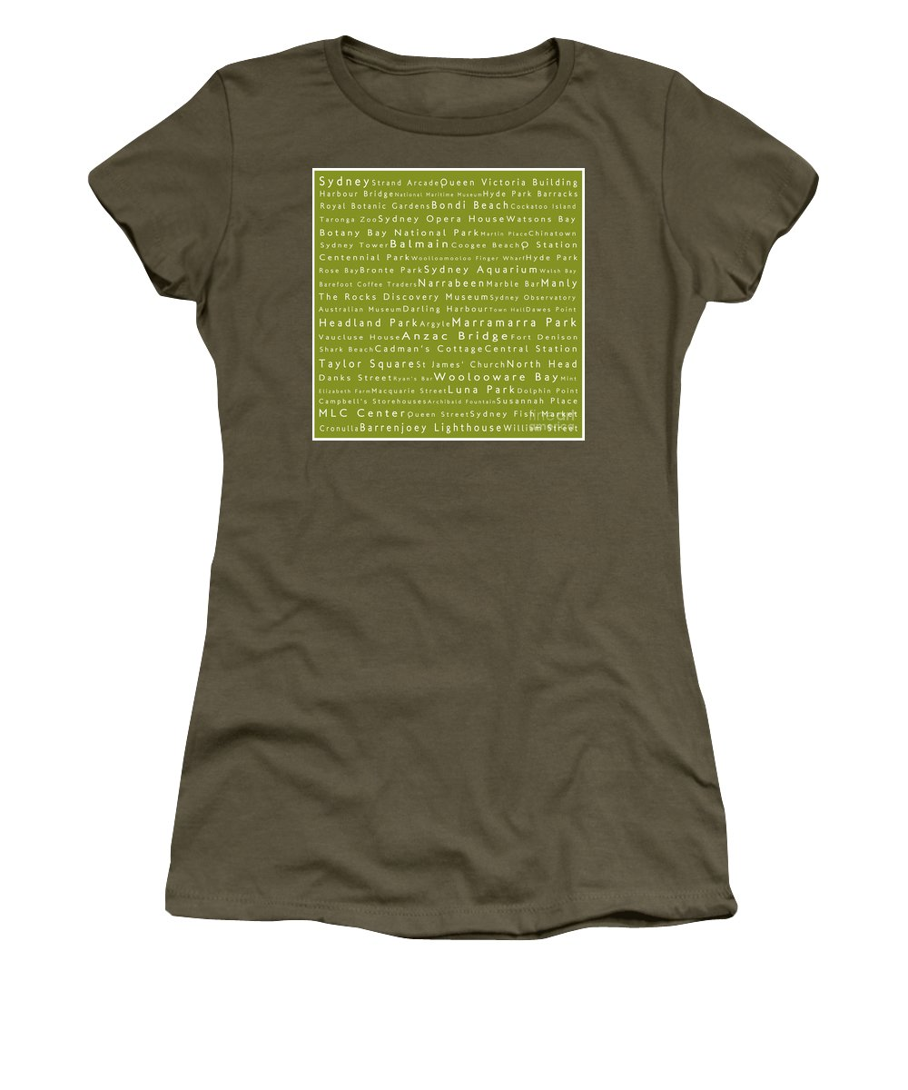 City Women's T-Shirt featuring the digital art Sydney In Words Olive by Sabine Jacobs