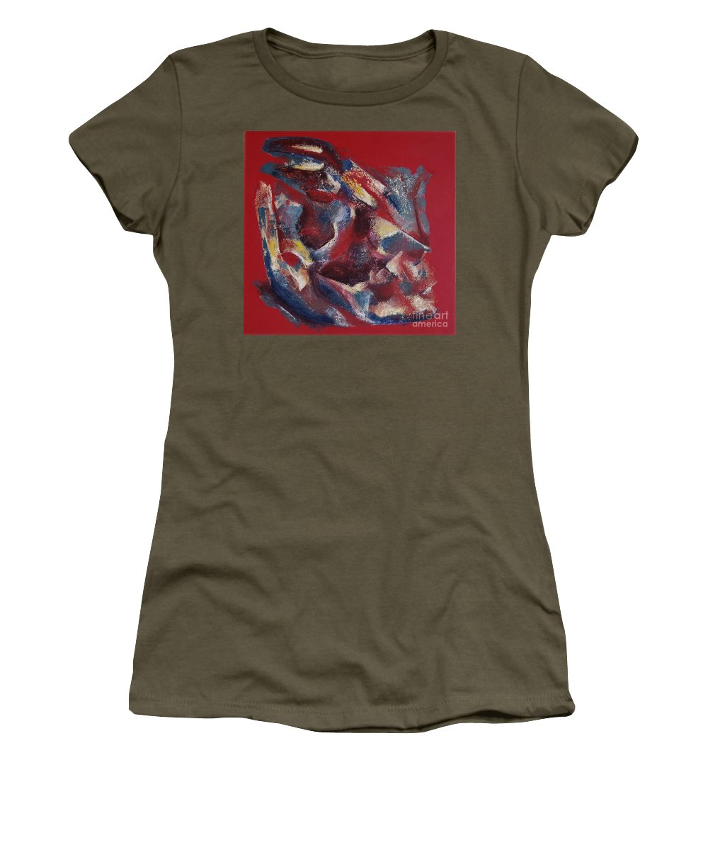 Abstract Women's T-Shirt (Athletic Fit) featuring the painting Syncopation by Mini Arora