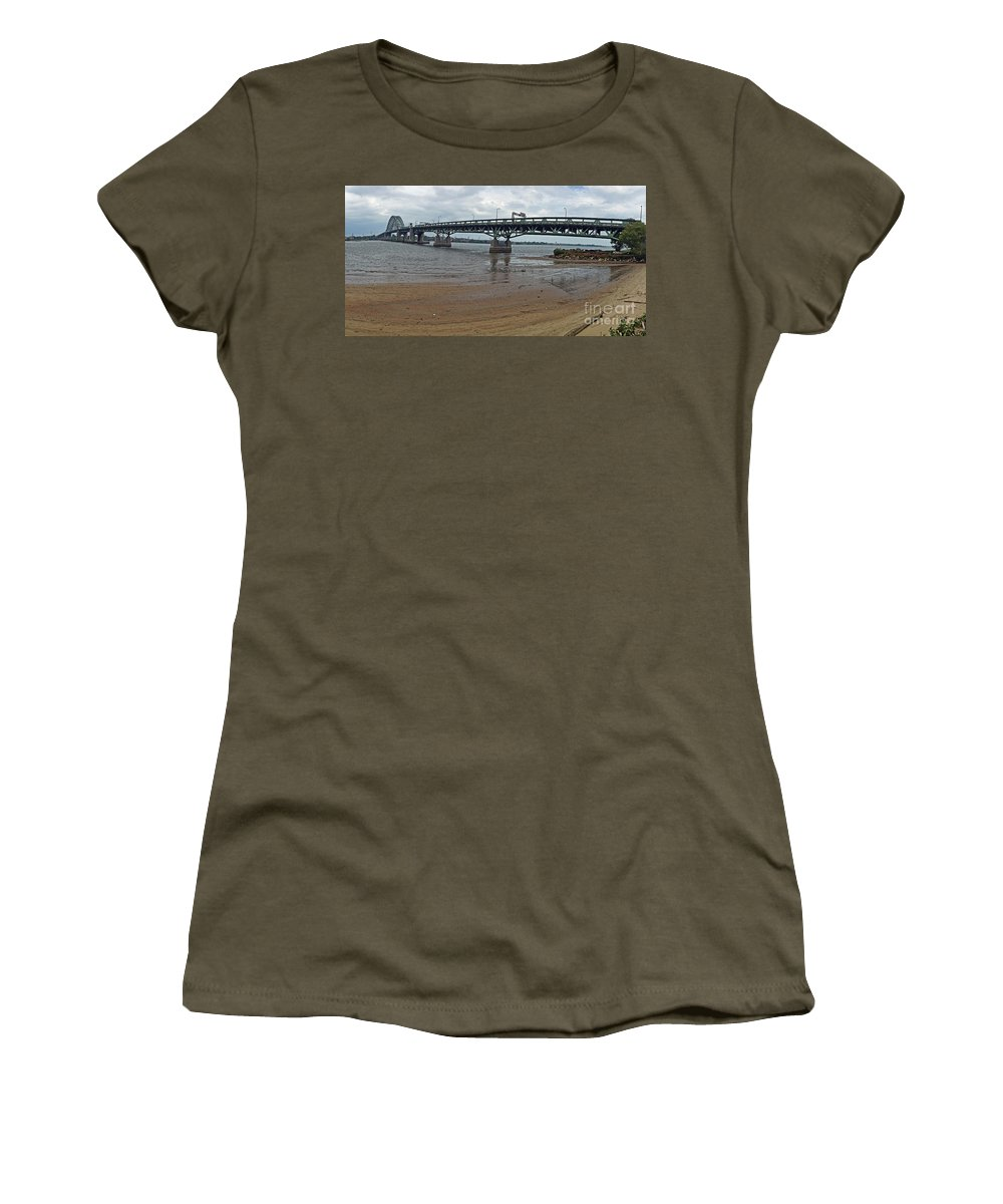 Connecting Women's T-Shirt featuring the photograph Tacony Palmyra Bridge by Tom Gari Gallery-Three-Photography