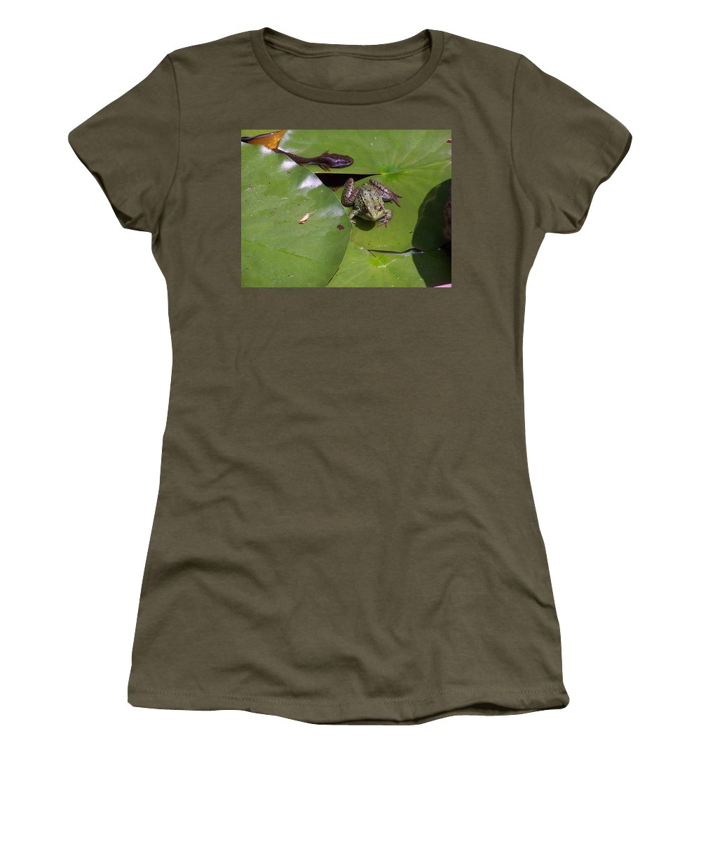 Tadpole Women's T-Shirt featuring the photograph Tadpole And Frog by Holly Eads