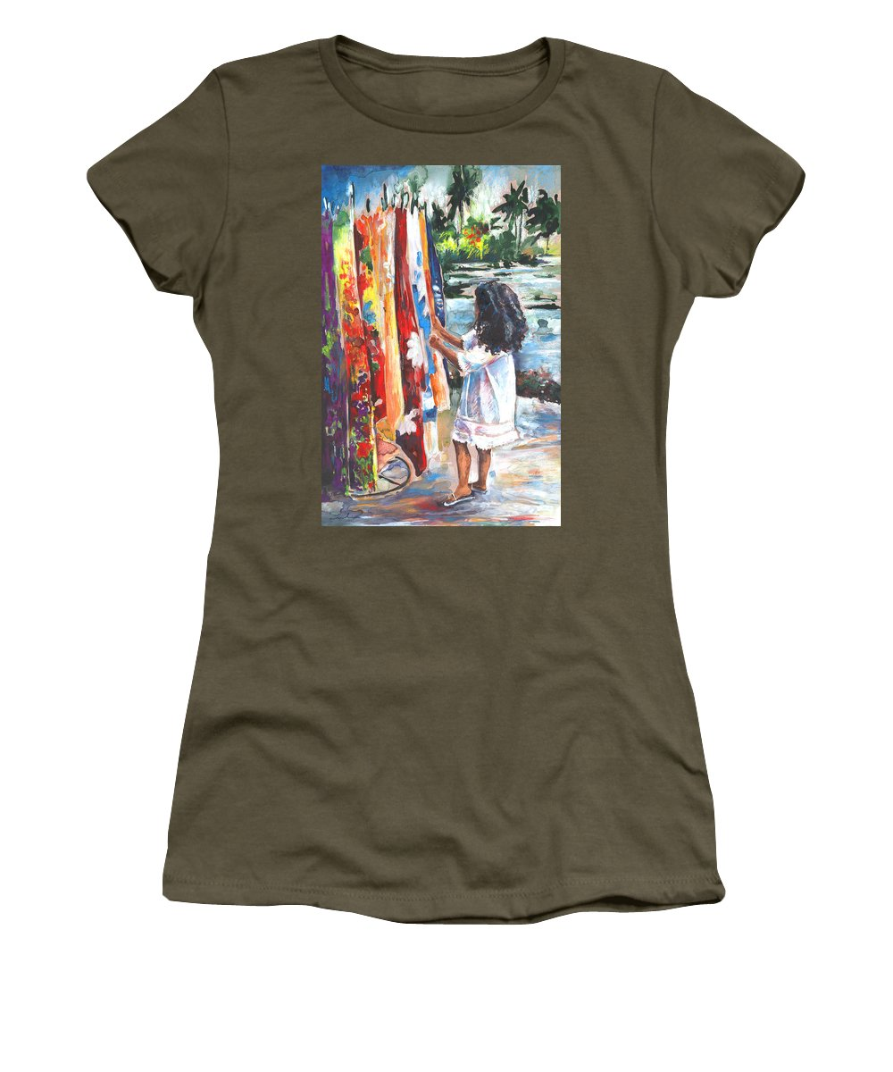 Travel Women's T-Shirt featuring the painting Tahitian Girl With Pareos by Miki De Goodaboom